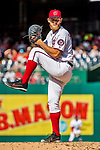 8 July 2017: Washington Nationals starting pitcher Stephen Strasburg on the mound against the Atlanta Braves at Nationals Park in Washington, DC. The Braves shut out the Nationals 13-0 to take the third game of their 4-game series. Mandatory Credit: Ed Wolfstein Photo *** RAW (NEF) Image File Available ***