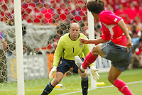 Brad Friedel makes a stop against South Korea. The USA tied South Korea, 1-1, during the FIFA World Cup 2002 in Daegu, Korea.