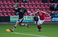 Lincoln City's Ollie Palmer vies for possession with Crewe Alexandra's Harry Pickering<br /> <br /> Photographer Andrew Vaughan/CameraSport<br /> <br /> The EFL Sky Bet League Two - Crewe Alexandra v Lincoln City - Saturday 11th November 2017 - Alexandra Stadium - Crewe<br /> <br /> World Copyright &copy; 2017 CameraSport. All rights reserved. 43 Linden Ave. Countesthorpe. Leicester. England. LE8 5PG - Tel: +44 (0) 116 277 4147 - admin@camerasport.com - www.camerasport.com