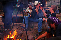 Campfire and dinner at the WIld Horse Sanctuary where there are overnight cabins for riders.<br /> <br /> Dianne Nelson has saved mustangs on a ranch in northern California.  &quot;It was in 1978 that the Wild Horse Sanctuary founders rounded up almost 300 wild horses for the Forest Service in Modoc County, California. Of those 300, 80 were found to be un-adoptable and were scheduled to be destroyed at a government holding facility near Tule Lake, California. The Sanctuary is located near Shingletown, California on 5,000 acres of lush lava rock-strewn mountain meadow and forest land. Black Butte is to the west and towering Mt. Lassen is to the east. ..Their goals:.Increase public awareness of the genetic, biological, and social value of America's wild horses through pack trips on the sanctuary, publications, mass media, and public outreach programs..Continue to develop a working, replicable model for the proper and responsible management of wild horses in their natural habitat..Demonstrate that wild horses can co-exist on the open range in ecological balance with many diverse species of wildlife, including black bear, bobcat, mountain lion, wild turkeys, badger, and gray fox..Collaborate with research projects in order to document the intricate and unique social structure, biology, reversible fertility control, and native intelligence of the wild horse.