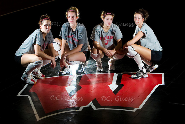 (from left)Freshman outside hitter Allison Wack, senior middle blocker Taylor Reineke, sophomore outside hitter Brittney Dolgner, and junior outside hitter Audra Jeffers pose for a portrait accompaning a preview for the University of Wisconsin-Madison volleyball team's 2006-2007 season.