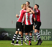 Exeter City's Ryan Harley, centre, celebrates scoring his sides third goal with team-mates<br /> <br /> Photographer Chris Vaughan/CameraSport<br /> <br /> The EFL Sky Bet League Two Play Off Second Leg - Exeter City v Lincoln City - Thursday 17th May 2018 - St James Park - Exeter<br /> <br /> World Copyright &copy; 2018 CameraSport. All rights reserved. 43 Linden Ave. Countesthorpe. Leicester. England. LE8 5PG - Tel: +44 (0) 116 277 4147 - admin@camerasport.com - www.camerasport.com