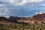 The Dragon, at right, is a rugged sandstone formation overlooking the Black Dragon Canyon, making up part of the San Rafael Reef of the San Rafael Swell in south central Utah.