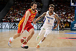 Sergio Llull of Spain and Victor Liz of Dominican Republic during the Friendly match between Spain and Dominican Republic at WiZink Center in Madrid, Spain. August 22, 2019. (ALTERPHOTOS/A. Perez Meca)