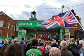 8th September 2017, Newmarket, England; OVO Energy Tour of Britain Cycling; Stage 6, Newmarket to Aldeburgh; A GBR flag is waved as the GBR team is presented to the crowd