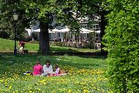 Germany, Baden-Wuerttemberg, Baden-Baden: Park of Lichtentaler Allee, lawn | Deutschland, Baden-Wuerttemberg, Baden-Baden: Parkanlagen der Lichtentaler Allee, Liegewiese