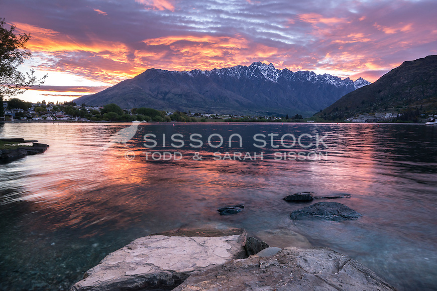 Sunrise over the Remarkables, Queenstown, New Zealand - stock photo, canvas, fine art print