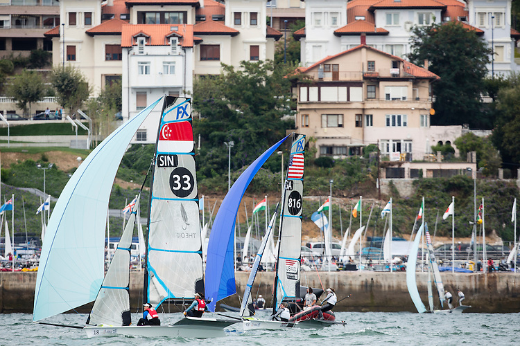 SANTANDER, SPAIN - SEPTEMBER 16:  49erFX - USA816 - Debbie Capozzi / Molly O'Bryan Vandemoer in action during Day 5 of the 2014 ISAF Sailing World Championships on September 16, 2014 in Santander, Spain.  (Photo by MickAnderson/SAILINGPIX via Getty Images)