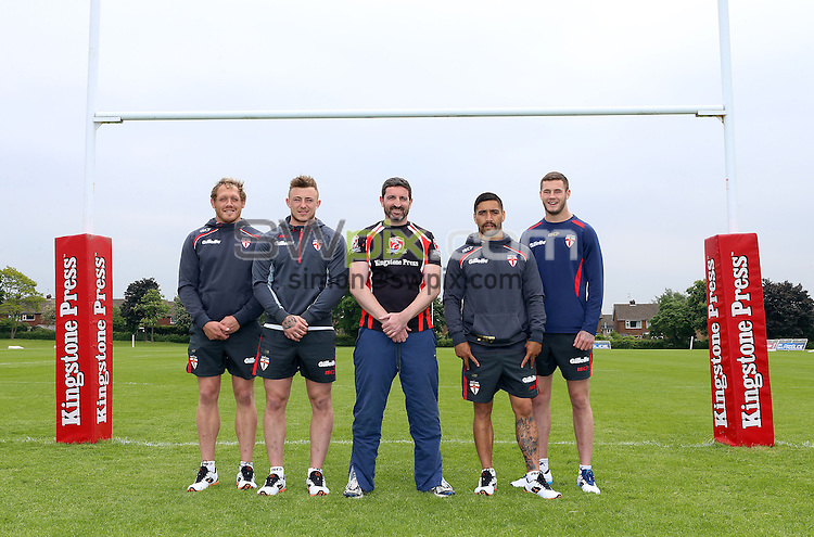 PICTURE BY VAUGHN RIDLEY/SWPIX.COM - Rugby League - England RL - Kingstone Press Sponsorship - Burleigh Court Hotel, Loughborough, England - 11/06/13 - England's Ben Westwood, Josh Charnley, Rangi Chase and Zak Hardaker take part in a media session with Kingstone Press.