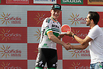 Alberto Contador (ESP) congratulates Sam Bennett (IRL) Bora-Hansgrohe after he wins Stage 3 of La Vuelta 2019 running 188km from Ibi. Ciudad del Juguete to Alicante, Spain. 26th August 2019.<br /> Picture: Colin Flockton | Cyclefile<br /> <br /> All photos usage must carry mandatory copyright credit (© Cyclefile | Colin Flockton)