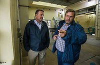 NWA Democrat-Gazette/BEN GOFF @NWABENGOFF<br /> Brent Dobler (left), superintendent of Rogers Water Utilities, and Todd Beaver, plant manager, give a tour Thursday, Nov. 21, 2019, at the Rogers wastewater treatment plant.
