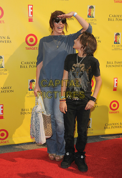 KRISTA ALLEN & SON .at The 2008 P.S. Arts' Express Yourself sponsored by Target held at Barker Hangar in Santa Monica, California, USA,  November 16th 2008.                                                                     .full length mother kid child grey gray top jeans Gucci bag scarf hand looking gesture.CAP/DVS.©Debbie VanStory/Capital Pictures