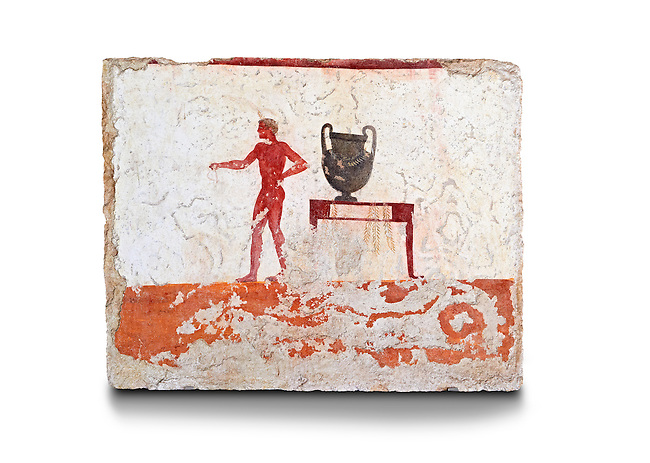 """Greek Fresco on the inside of Tomb of  the Diver  [La Tomba del Truffatore]. The tomb is painted with the true fresco technique and its importance lies in being """"the only example of Greek painting with figured scenes dating from the Orientalizing, Archaic, or Classical periods to survive in its entirety. This panel from the short side of the tomb shows a man with a wreathed wine crater . Paestrum, Andriuolo.  (480-470 BC  )"""