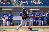 Lake Elsinore Storm Eguy Rosario (1) follows through on his swing against the Rancho Cucamonga Quakes at LoanMart Field on April 22, 2018 in Rancho Cucamonga, California. The Storm defeated the Quakes 8-6.  (Donn Parris/Four Seam Images)
