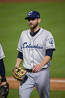 Columbus Clippers relief pitcher Josh D. Smith (39) walks off the mound between innings of an International League game against the Indianapolis Indians on April 29, 2019 at Victory Field in Indianapolis, Indiana. Indianapolis defeated Columbus 5-3. (Zachary Lucy/Four Seam Images)