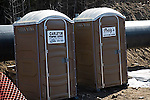 Portable toilets on 42&quot; International Natural gas pipeline under construction between Alberta, Canada and Easterrn USA<br />