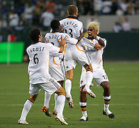 Los Angeles Galaxy midfielder (23) David Beckham celebrates scoring off a free kick. LA Galaxy defeated DC United 2-0 in the Semi Final of the SuperLiga at the Home Depot Center in Carson, California, Wednesday, August 15, 2007.