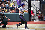 21 MAY 2016:  Brooklyn Clark (8) of the University of North Alabama hits against Humboldt State University during the Division II Women's Softball Championship held at the Regency Athletic Complex on the Metro State University campus in Denver, CO.  North Alabama defeated Humboldt State 10-1 to force a game three.  Jamie Schwaberow/NCAA Photos