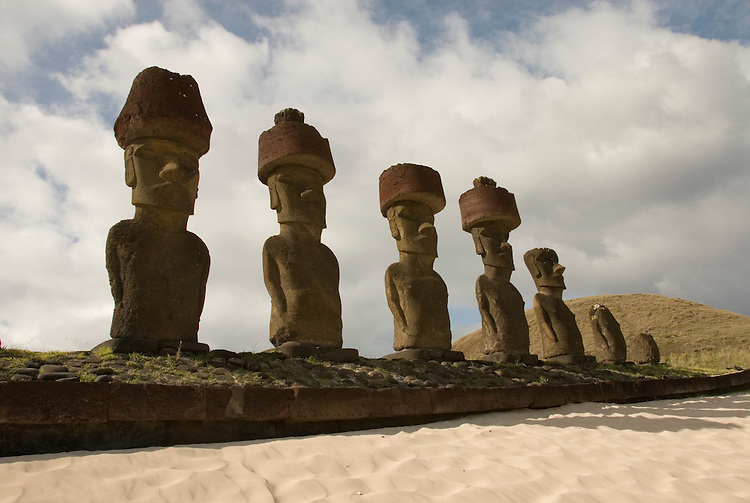 Chile, Easter Island: Anakena Beach, a white coral sand beach with palm trees and several restored moai or statues..Photo #: ch292-32742..Photo copyright Lee Foster www.fostertravel.com lee@fostertravel.com 510-549-2202