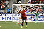 24 October 2014: Whitney Engen (USA) (6) and Luz Duarte (MEX) (20) challenge for a header. The United States Women's National Team played the Mexico Women's National Team at PPL Park in Chester, Pennsylvania in a 2014 CONCACAF Women's Championship semifinal game, which serves as a qualifying tournament for the 2015 FIFA Women's World Cup in Canada. The United States won the game 3-0. With the victory the U.S. advanced to the championship game and qualified for next year's Women's World Cup.