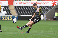 Sunday 19 October 2014<br /> Pictured: Ospreys outside-half Dan Biggar slots over another penalty.<br /> Re: Ospreys v Treviso, Heineken Champions Cup at the Liberty Stadium, Swansea