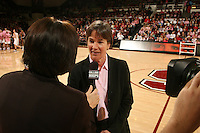 STANFORD, CA - FEBRUARY 14:  Head coach Tara VanDerveer of the Stanford Cardinal during Stanford's 58-41 win against the California Golden Bears on February 14, 2009 at Maples Pavilion in Stanford, California.