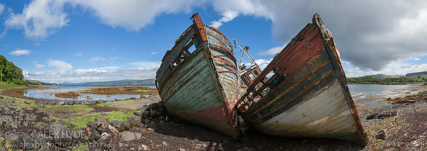 Abandoned fishing boats, Salen, Isle of Mull, Scotland, UK. June. Digitally stitched panorama.