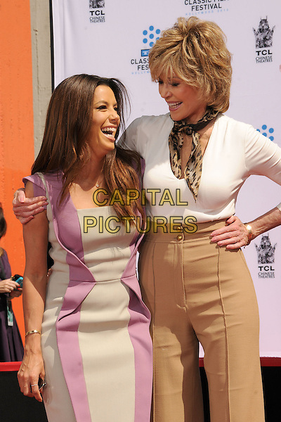 Eva Longoria, Jane Fonda.TCM Classic Film Festival 2013 - Jane Fonda Handprint and Footprint Ceremony held at the TCL Chinese Theatre, Hollywood Walk of Fame, Hollywood, California, USA, 27th April 2013..half length head leaning in  purple grey gray dress  arm around white top brown tan beige high waisted trousers hand on hip animal print leopard scarf smiling laughing .CAP/ADM/BP.©Byron Purvis/AdMedia/Capital Pictures