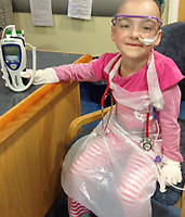 "Pictured: Eva Bevan when she was receiving treatment<br /> Re: A dying schoolgirl told her mum to be brave and stop crying when she started losing her battle with cancer. <br /> Eva Bevan, seven, would roll her eyes at mum Lauri(corr) whenever she broke down in tears.<br /> Single mum Lauri Cowdell, 37, from Ebbw Vale, south Wales said: ""She was braver than me, she kept us all going.<br /> ""If ever I started crying she would roll her eyes the way young girls do at their mums.<br /> ""She was wicked and would say to me: ""You're not crying again mum.""   <br /> Only child Eva was  fit and healthy before complaining of a pain in her hip and tiredness.<br /> Hospital theatre nurse Lauri took her to the doctor thinking she had hurt herself in a rough and tumble game with her friends."