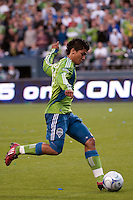 Fredy Montero (l) of the Seattle Sounders lines up his shot and scores against DC United in the match played on June 17, 2009 at Quest Field in Seattle, WA. The Sounders and United played to a 3-3 draw.