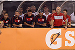 10 AUG 2010: U.S. head coach Bob Bradley (standing) in front of his assistants (from right) Mike Sorber, Pierre Barrieu, Zak Abdel, Lubos Kubik. The United States Men's National Team lost to the Brazil Men's National Team 0-2 at New Meadowlands Stadium in East Rutherford, New Jersey in an international friendly soccer match.