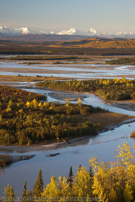 Prominent peaks in the Alaska Range mountains, Interior, Alaska.