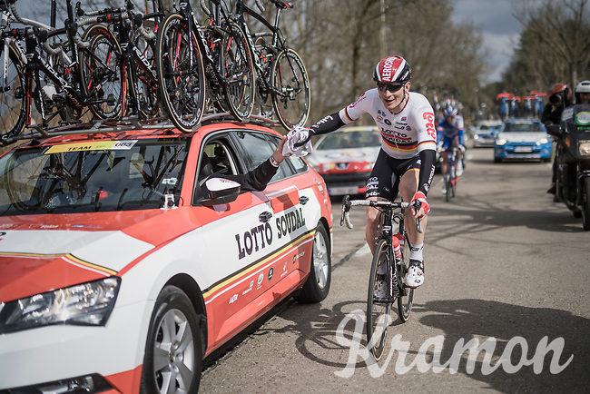 Andr&eacute; Greipel (DEU/Lotto-Soudal) getting rid of his jacket<br /> <br /> 105th Scheldeprijs 2017 (1.HC)<br /> 1 Day Race: Mol &rsaquo; Schoten (BEL/202km)