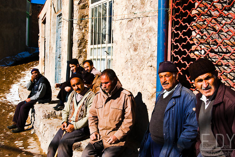 On a sunny winter day, these men are killing time on the small central square of Kandovan village, 50 kilometers from Tabriz.