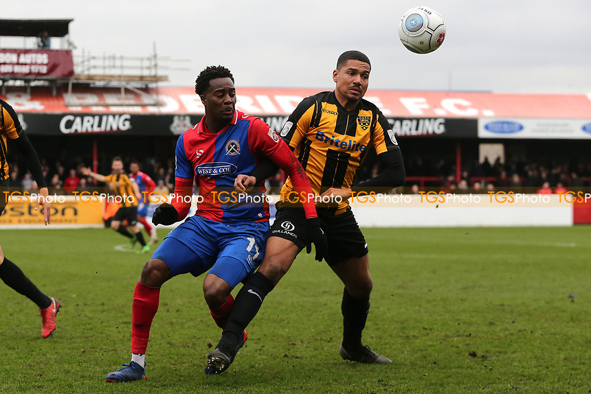 Alex Wynter of Maidstone United and Fejiri Okenabirhie of Dagenham and Redbridge during Dagenham & Redbridge vs Maidstone United , Vanarama National League Football at the Chigwell Construction Stadium on 2nd April 2018