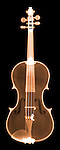 X-ray image of a violin (color on black) by Jim Wehtje, specialist in x-ray art and design images.