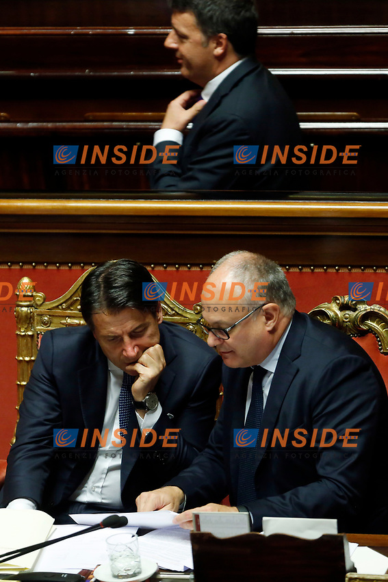 Giuseppe Conte, Roberto Gualtieri minister of Economy and in the background Matteo Renzi<br /> Rome September 10th 2019. Senate. Discussion and Trust vote at the new Government. <br /> Foto  Samantha Zucchi Insidefoto