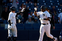 New York Yankees Chris Gittens (92) high fives Kyle Holder (left) after hitting a home run during a Spring Training game against the Toronto Blue Jays on February 22, 2020 at the George M. Steinbrenner Field in Tampa, Florida.  (Mike Janes/Four Seam Images)