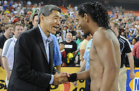 AC Milan forward Ronaldinho (80) with DC United Executive Chairman William H.C. Chang after the game.  DC United defeated AC. Milan 3-2 at RFK Stadium, Wednesday May 26, 2010.