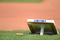 Tampa Bay Rays base sits on the field before a Grapefruit League Spring Training game against the Boston Red Sox at Charlotte County Sports Park on February 25, 2013 in Port Charlotte, Florida.  Tampa Bay defeated Boston 6-3.  (Mike Janes/Four Seam Images)