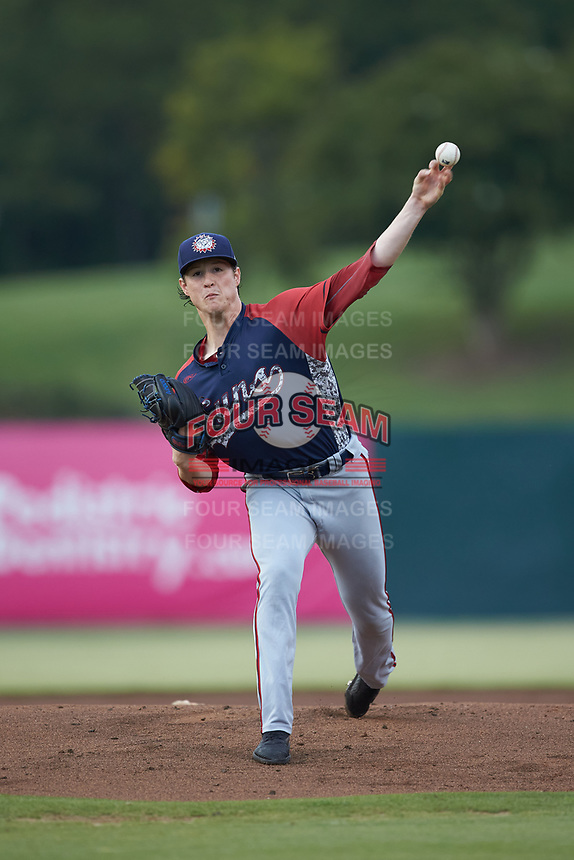 Hagerstown Suns starting pitcher Ryan Williamson (15) delivers a pitch to the plate against the Kannapolis Intimidators at Kannapolis Intimidators Stadium on August 27, 2019 in Kannapolis, North Carolina. The Intimidators defeated the Suns 5-4. (Brian Westerholt/Four Seam Images)