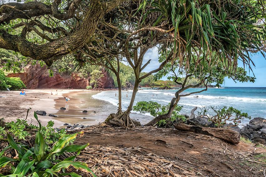 Koki Beach, located off the Hana Highway a few miles south of the town of Hana, Maui