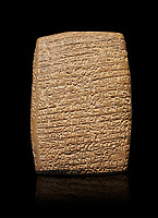 Hittite cuneiform tablet. Adana Archaeology Museum, Turkey. Against a black background