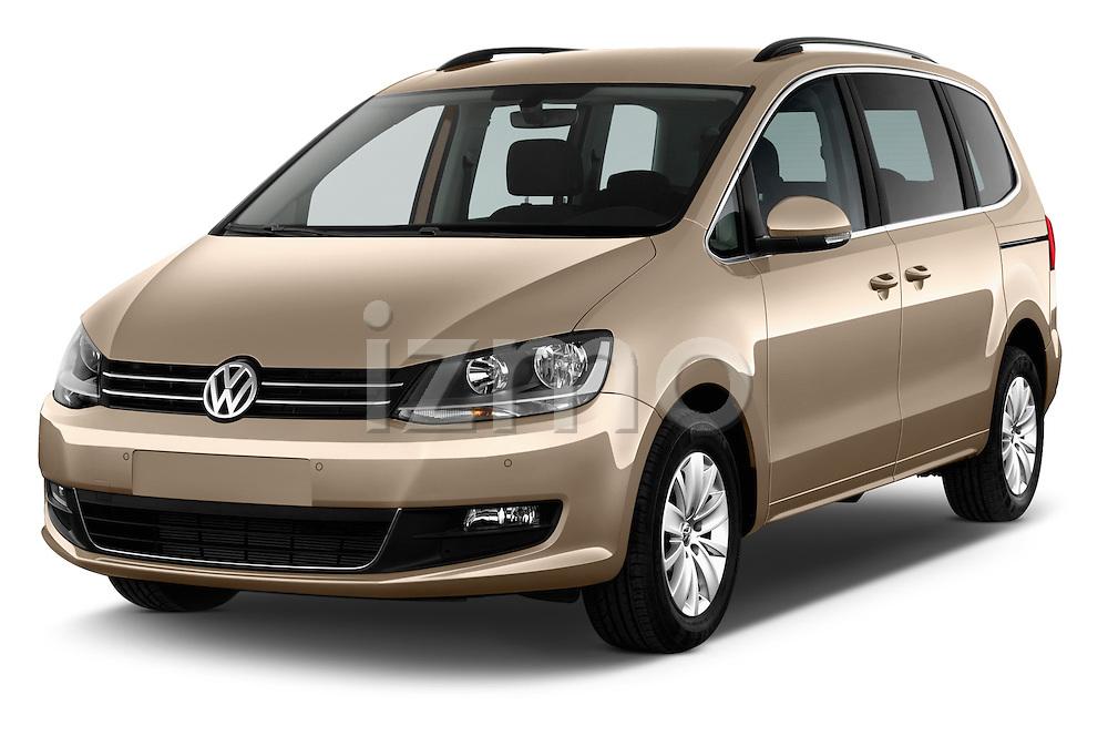 2016 Volkswagen Sharan Confortline 5 Door Minivan Angular Front stock photos of front three quarter view