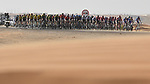 Crosswinds for the peloton in the desert during Stage 3 of the 2019 UAE Tour, running 179km form Al Ain to Jebel Hafeet, Abu Dhabi, United Arab Emirates. 26th February 2019.<br /> Picture: LaPresse/Fabio Ferrari | Cyclefile<br /> <br /> <br /> All photos usage must carry mandatory copyright credit (© Cyclefile | LaPresse/Fabio Ferrari)
