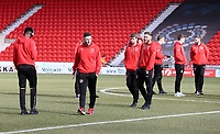 Fleetwood Town arrive for the Sky Bet League 1 match between Doncaster Rovers and Fleetwood Town at the Keepmoat Stadium, Doncaster, England on 17 February 2018. Photo by Leila Coker / PRiME Media Images.