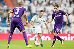 Real Madrid's Lucas Vazquez (c) and ACF Fiorentina's Cristiano Biraghi (l) and Federico Chiesa during Santiago Bernabeu Trophy. August 23,2017. (ALTERPHOTOS/Acero)