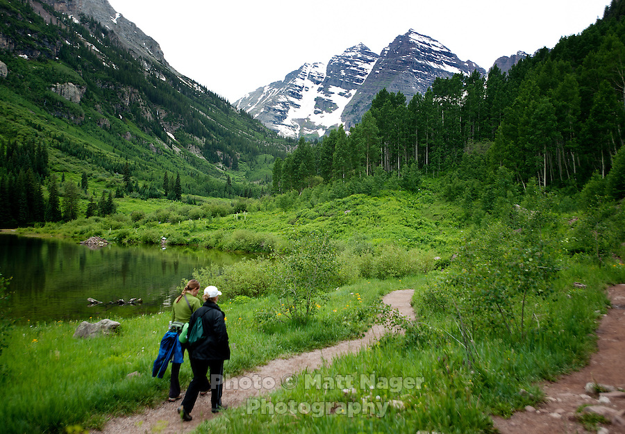 Hikers near Maroon Lake Scenic Trail and the Maroon Bells in Aspen, Colorado, July 12, 2011...Photo by Matt Nager