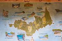 Europe/Provence-Alpes-Côte d'Azur/83/Var/Iles d'Hyères/Ile de Porquerolles: Au village carte de l'Ile sous  un abri