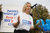 Diana Leach, of Brighton and Hove Unison, addresses a rally against cuts in the NHS and privitisation of the health service, Oxford